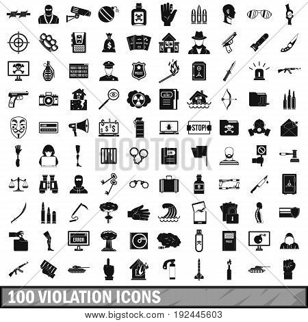 100 violation icons set in simple style for any design vector illustration poster