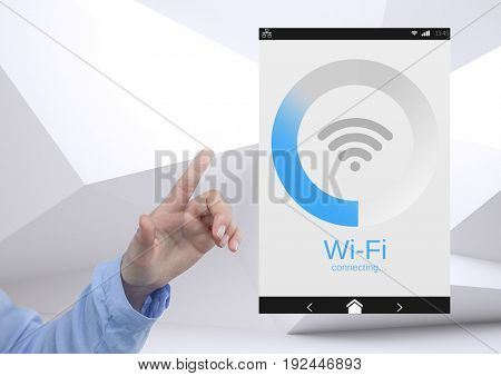Digital composite of Hand touching a Wi-Fi App Interface minimal background