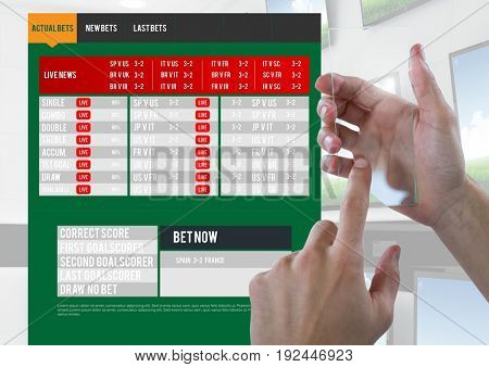 Digital composite of Hand touching a glass screen with a Betting App Interface televisions