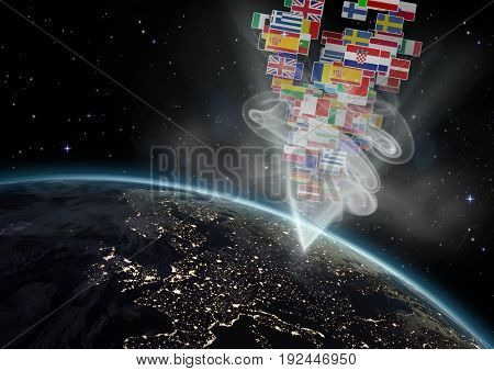 Digital composite of panel with flags going out of earth