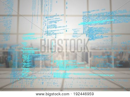 Digital composite of Blue code against blurry window