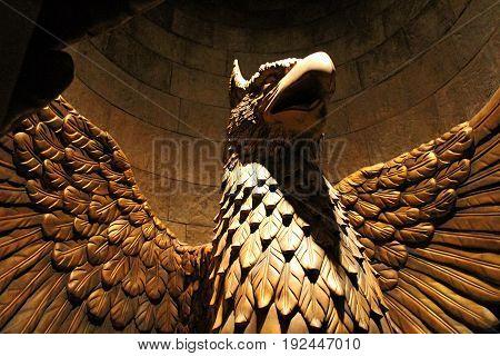 Osaka, Japan - Apr 25, 2017: Statue in The Wizarding World of Harry Potter in Universal Studios Japan. Universal Studios Japan is a theme park in Osaka, Japan.Hogwarts Castle