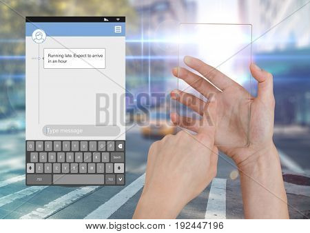 Digital composite of Hand Touching Glass Screen and Social Media Messenger App Interface on street road running late