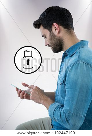 Digital composite of Man with glass device and white lock graphic against white background