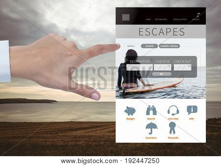 Digital composite of Hand Touching Escapes Holiday break App Interface with sea