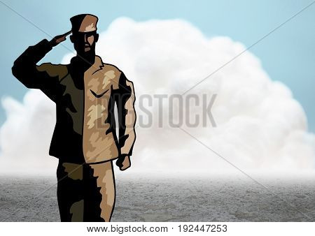 Digital composite of Cartoon soldier saluting against cloud and ground