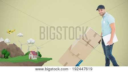 Digital composite of Delivery man pushing boxes on cart with house on mountain