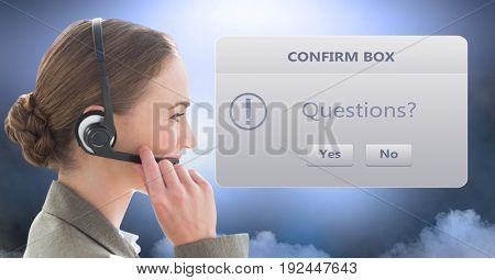 Digital composite of Customer service executive wearing headphones by dialog box