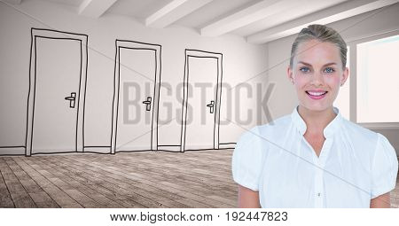 Digital composite of Confident businesswoman smiling against drawn doors on wall