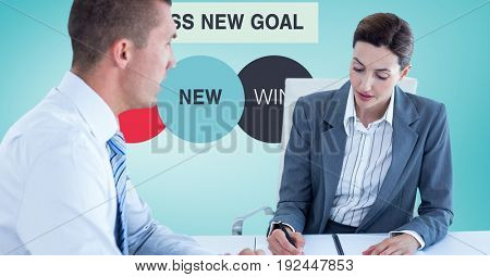 Digital composite of Business people in meeting with graphics in background