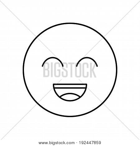 Smile face outline icon. Symbol happy emotion
