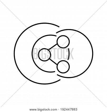 Share icon vector illustration. Isolated share line symbol. Outline sharing element for design