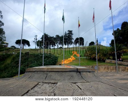 The Eternal Flame monument at Puente de Boyaca the site of the famous Battle of Boyaca where the army of Simon Bolivar with the help of the British Legion secured the independence of Colombia