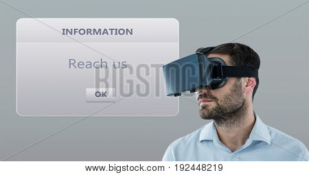Digital composite of Male customer support executive wearing VR Glasses with dialog box in background