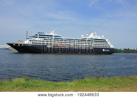 Velsen The Netherlands - June 21st 2017: Azamara Journey on North Sea Channel towards IJmuiden sea lock