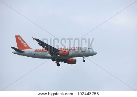 Amsterdam the Netherlands - June 22nd 2017: G-EZBB easyJet Airbus A319 approaching Polderbaan runway at Schiphol Amsterdam Airport the Netherlands
