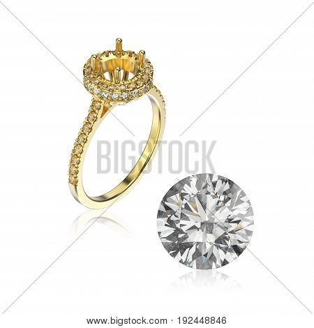3D illustration yellow gold ring without gemstone and round diamond with reflection on a white background