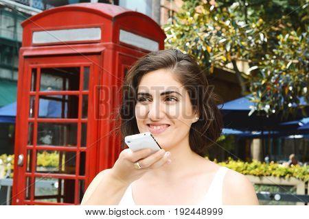Woman Sending Voice Messages.