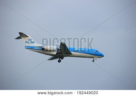 Amsterdam the Netherlands - June 22nd 2017:PH-KZL KLM Cityhopper Fokker F70 approaching Polderbaan runway at Schiphol Amsterdam Airport the Netherlands