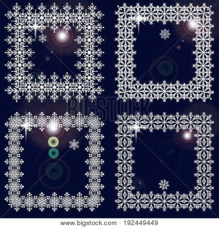 Set of winter frames from snowflakes. White cadres on dark blue background with glare. Vector illustration