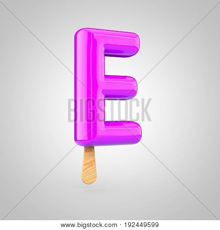 Ice Cream Letter E Uppercase Isolated On White Background