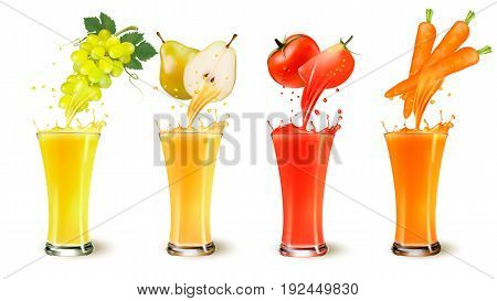 Set of fruit juice splash in a glass. Grapes pear tomato and carot. Vector