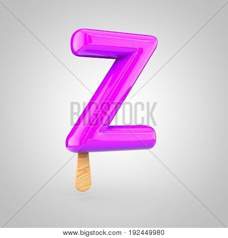 Ice Cream Letter Z Uppercase Isolated On White Background