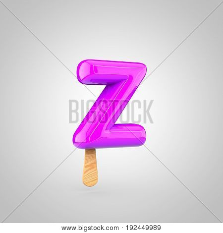 Ice Cream Letter Z Lowercase Isolated On White Background