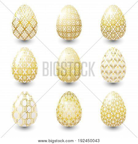 Set of Golden Easter eggs with ornaments. Vector illustration.