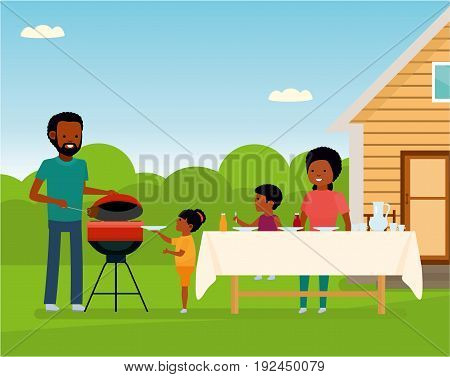African Happy family preparing a barbecue grill outdoors. Family leisure. African American people. Vector illustration in a flat cartoon style