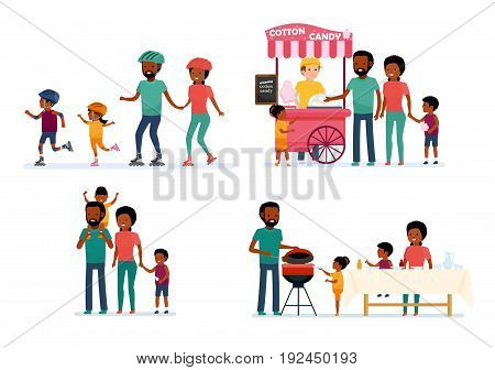 Set of family leisure. African family. Bbq at home, picnic in nature, walk in amusement park, roller skating. African American people. Vector illustration in a flat cartoon style