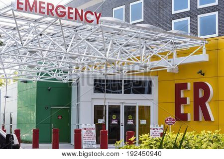 Hospital Entrance showing Emergency Entrance Signage to ER