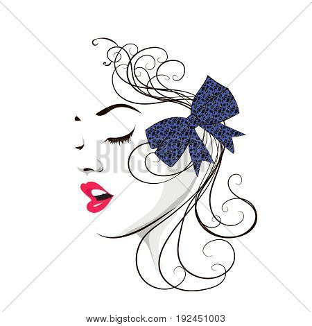 Lovely female face. Beauty icon or sign for hairdressing, barber or beauty salon, estetic medicine centre