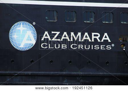 Velsen The Netherlands - June 21st 2017: Azamara Journey on North Sea Channel towards IJmuiden sea lock