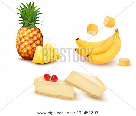 Set of different fruit and desert. Pineapple banana and cheesecake. Vector.
