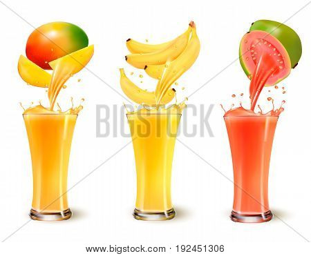 Set of fruit juice splash in a glass. Mango banana and guava. Vector