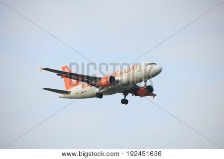 Amsterdam the Netherlands - June 22nd 2017: G-EZAX easyJet Airbus A319 approaching Polderbaan runway at Schiphol Amsterdam Airport the Netherlands