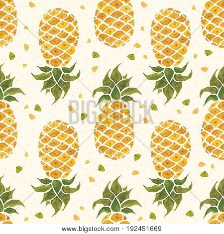 Pineapple background. Hand Drawn illustration. Watercolor Seamless pattern.