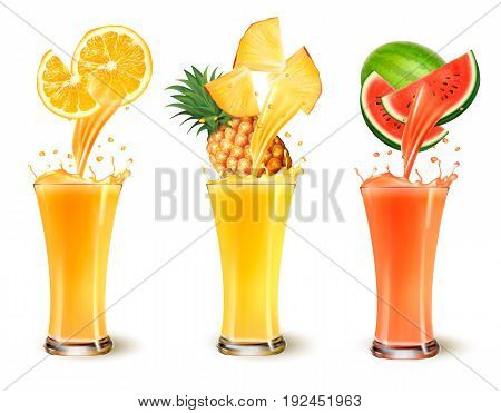 Set of fruit juice splash in a glass. Orange pineapple and watermelon. Vector