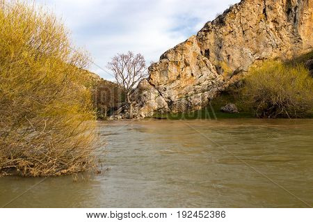 River in the mountains in the nature .
