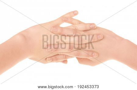 Hands of woman suffering from pain in joints on white background. Concept of orthopedist attendance