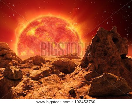 Red giant star on the horizon of a desert planet. 3D illustration.