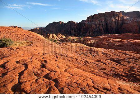 Arid petrified sand dunes of Snow Canyon State Park Utah