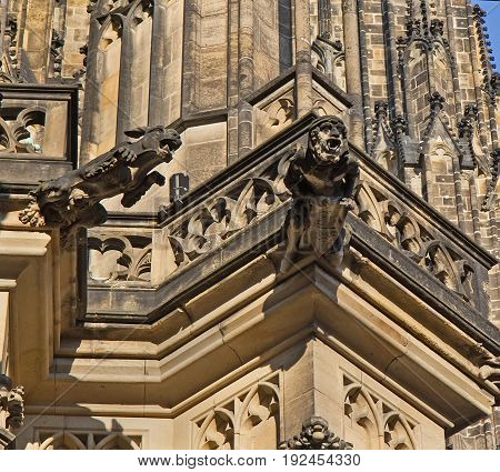 Two gargoyles of St. Vitus Cathedral Prague Czech Republic.