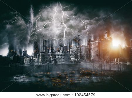 Apocalyptic thunderstorm over downtown with lightning strikes and blasts, lava or burning flames in foreground. Disaster film poster concept