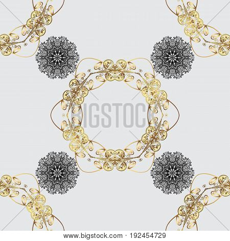 Seamless damask classic white and golden pattern. Vector abstract background with repeating elements. Golden pattern on gray background with golden elements.