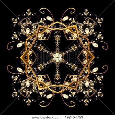 Vector pattern ornamental Christmas background. Floral border. Winter boarder. Christmas golden snowflakes in black colors with golden doodles and dots on black background.