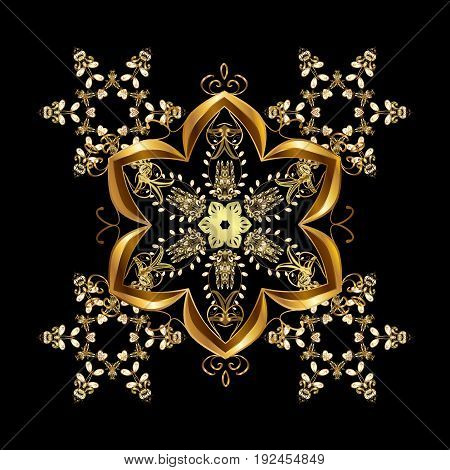Christmas card with gold snowflakes design on black background. Winter card. Merry Christmas New Year and Happy Holiday vector illustration.