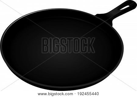 Heavy frying pan for cooking. Vector illustration.