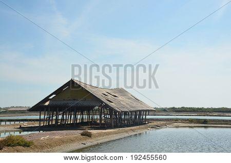 salt-pond at Ban Laem, Phetchaburi province ,thailand